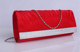 Wholesale best selling no risking red white satin silk bridal handbag wedding accessories beaded shiny pretty bride purse with strap
