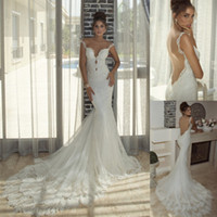Cheap Wholesale-Sexy Spaghetti Straps Galia Lahav Long Vintage Bridal Dress Tulle Lace Applique Mermaid Court Train Backless Wedding Dresses Gowns