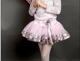 Nouveaux Voile Dentelle Ruban Garniture bowknot Tutu Dress Pettiskirt Dance Baby Girls Costume Ballet Shirts Vêtements Robes de jupe plissée à partir de nouvelle filles vêtements fabricateur