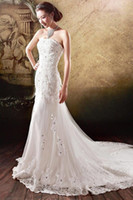 Wholesale 2014 New Inspired Mermaid Ivory Wedding Dresses Cathedral Train Strapless Lace Up Back Appliques Lace Beads Crystal Noble Church Bridal Gown