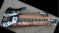 Cheap New Arrival guild Double neck acoustic Electric Guitar black! Free shipping