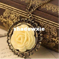 Cheap Wholesale - Min.order is $5 (mix order)Free Shipping,Elegant Vintage Necklace,Cream Rose Disk Pierced Lace Chain, (N026)