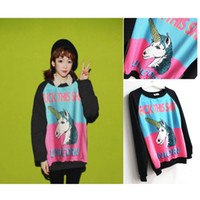 Cotton Pullover Hoodies,Sweatshirts fall new fashion items women 2014 little monsters cartoon unicorn HARAJUKU long sleeve thin sweatshirt streetwear
