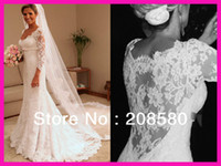 Cheap 2014 Sexy Sweetheart Real Model Long Sleeve Low-Cut Lace See Through Bridal A-line Wedding Dresses Gowns