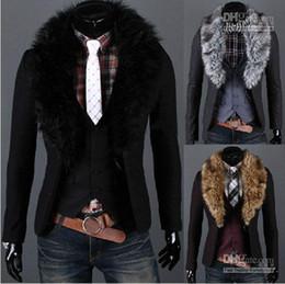 Wholesale Fashion New Korean Men s Slim Fashion Two buckle Fur collar Coattails suit Jacket Coat Outerwear