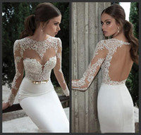 Trumpet/Mermaid Reference Images Jewel Sexy Illusion Jewel Neck Applique Backless Berta Bridal Long Sleeve Sheath Wedding Dresses Floor-Length Bridal Gowns open back Wedding Dress