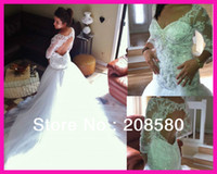 Cheap 2014 Real Model Winter Sweetheart Beading Lace Mermaid Wedding Dresses Bridal Gowns Open Back Chapel Train