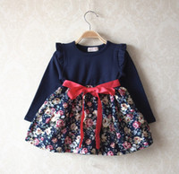 red rose - Spring Baby Girls Dresses Bowknot Puff Long Sleevel Floral Pure Cotton Navy Blue Rose Red Dress Children s Flowers Outwear C0773