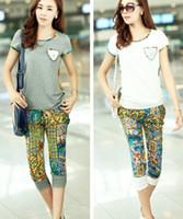 Cheap Fashion Women Ladies Girls Casual T Shirts Half Pants 2 Piece Suits Short Sleeve Summer Grey White