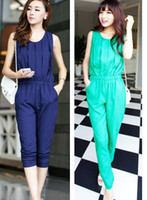 Cheap Fashion Women Ladies Casual Jumpsuits Romper Nine Pants Chiffon Sleeveless Summer Round Neck Green Navy Blue