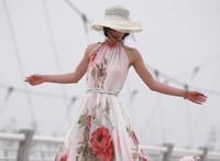 Cheap Summer Elegant BoHO Lotus Leaf Big Hem Chiffon Maxi Flowers Dress Long Dress A