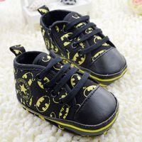 Wholesale Hot Sale Black Batman Baby Todderl Prewalker Boys kid Lace up Casual Shoes Children Babies Non slip First Walker