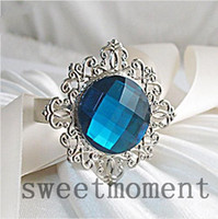 Wholesale 500PCS Serviette Banquet Favours Decorations Teal Blue Gem Napkin Ring Upick colors Free DHL Shipping