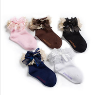 Wholesale 2014 New Baby Girls Fashion Ribbon Bow Lace Fairy Socks Ankle Socks Children Lovely Lace Socks Infant Cotton Socks C0776