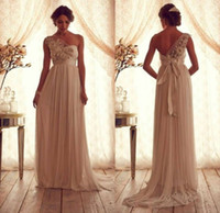 Reference Images ribbon bow and flowers - 2014 A Line Chiffon One Sheer Strap Ruched wedding dresses Hand Made Flowers and Beads Ribbon Bow Removable Court Train Bridal Gowns