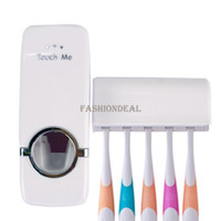 Wholesale 2014 New Portable Household toothbrush holder Hands Free Automatic Toothpaste Dispenser bathroom accessories Touch Set