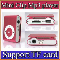Wholesale DHL colors Mini Clip Mp3 player with earphones usb cables retail box support Micro SD TF card