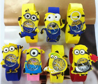 Wholesale 50pcs Eco friendly Kids Popular Despicable Me Minions Cartoon Character Rubber Band Wristwatch Boys Girls School Dress Daily Wear Slap Watch