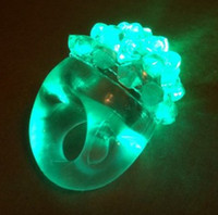 Wholesale brand new Cool Led Light Up Flashing Bubble Ring Rave Party Blinking Soft Jelly Glow
