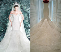 Wholesale Michael Cinco Wedding Dresses New Arrival Pearls Lace Appliques Off Shoulder Sheer Backless Luxury Mermaid Wedding Dress Bridal Gowns