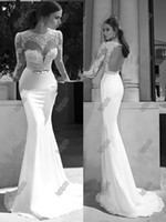Wholesale Berta New Sheer Illusion Bateau Open Back Applique Gold Sash Sweep Train Mermaid Backless Evening Dresses Bridal Gowns Prom Dresses