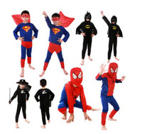Wholesale Children Boys Kids Batman Spiderman Superhero Superman Costumes Halloween Cosplay Clothes Party Cosplay Decor Birthday Gift