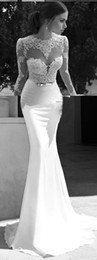 Wholesale New Sheer Wedding Dresses Berta Winter Illusion Bateau Round Back Applique Gold Belt Sweep Train Mermaid Wedding Bridal Dresses Gowns