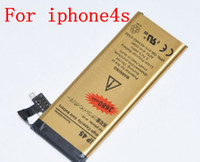 Wholesale 2014 New High capacity Battery For iphone iphone4S Gold battery V mAh for iphone4S cell phone batteries HOT