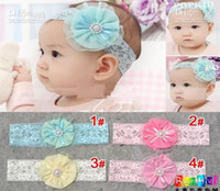 Wholesale Brand New Fashion Baby headband elastic lace adorned with big chiffon flower months infant hair ornaments