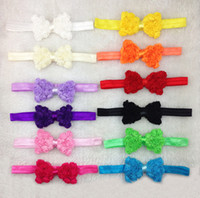 band ribbon roses - 100pcs Colors New Baby Bows Headbands Girls Rose Flowers Headbands Infant Bows Head Band Elastic Hair Accessories Headwear Hairbands