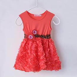 Fashion Girls Dresses New Arrival Summer Casual Kids Clothes Rose Hem Chidren Clothing Leopard Belt Flowers Girls Princess Dress GD40209-3