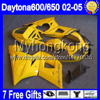 Cheap 7gifts For ALL yellow Triumph Daytona 650 02-05 2002 2003 2004 2005 5Y#83 Daytona 600 Factory yellow Daytona650 650 02 03 04 05 Fairings