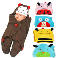 Wholesale Infant Baby Animal Swaddle Blanket with Legs Cartoon Owl Polar fleece Sleeping Sacks Bags Blanket Wrap Sleep Sack Hooded Wrap Sleeping Bag
