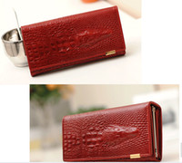 Wholesale 2014 women s wallet female long design crocodile pattern first layer of cowhide folder leather cowhide genuine leather