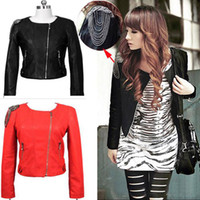 womens leather jackets - Brand New Fashion Womens Slim Motorcycle Tassel PU Faux Leather Long Sleeve Jacket Coat