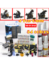 Wholesale Cool Professional Guns Colors ml bottle Pigment ink Tattoo Machine Kit Needles Set Supply Tattoos Power Plug r86 u10 erK