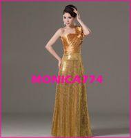 Wholesale Elegant Gold Sequin pageant dresses Chiffon ruffle one bowtie shoulder bridesmaid dresses slim Quinceanera Dress evevning party dress MW089