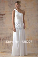Cheap JZ 020 d One shoulder chiffon grecian style gown. With ruched waistband and zipper back wedding dress