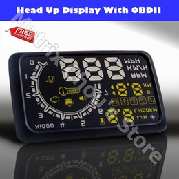 Wholesale Freeshipping ActiSafety Universal Car HUD ASH C Head Up Display RPM MPH KPH Fuel Consumption Inch OBD2 Colors