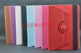 Wholesale Universal rotating PU leather case cover skin shell for inch tablet MID Q88 A13 Galaxy tab T210 P3200 P3100 Stand
