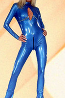 open bust lingerie - lingerie Newest Sexy Blue Bodysuit Open Bust PVC Leather Catsuit With Zipper Leather Bodysuits For Women LB1163
