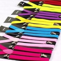 Wholesale New hot sale new style Skinny Braces Suspenders Mens Ladies Neon Plain Adjust Colourful Clip on Y back