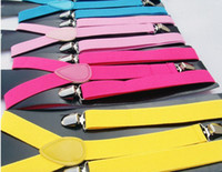 Wholesale Hot sellingnew style Skinny Braces Suspenders Mens Ladies Neon Plain Adjust Colourful Clip on Y back