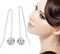 Wholesale Foreign trade sterling silver zircon tassel earrings