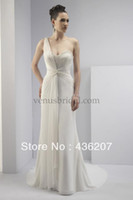 Trumpet/Mermaid Reference Images Sweetheart JK 075 d Fashion One shoulder Grecian style chiffon gown wedding dress 2014