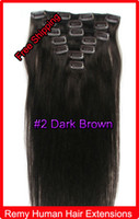 Wholesale 20 quot quot Clip In Virgin Remy Human Hair Extensions Dark Brown g