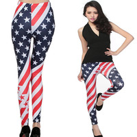 Wholesale 2014 Fashion Summer Womens Funky Digital Printed USA Flag Spandex Leggings Sexy Ladies Geometric Tights Legwear Cheap Long Pants For Woman