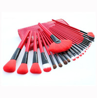 make up factory - Professional Makeup Brush Sets Make up Tools Soft Goat Hair Brand Red Makeup Brushes Kit with Pouch Bag Case Factory