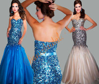 Wholesale 2014 evening dresses royal blue ivory Sexy Sweetheart Sequins Beads Tulle Mermaid Formal prom dresses Evening Gowns M