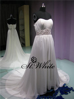 A-Line Real Photos Strapless WOW! Elegant Strapless A-line 2014 Wedding Dresses crystals Beading Pearls Fold Woman Prom Dresses Chiffon Watteau Train Bridal Gowns
